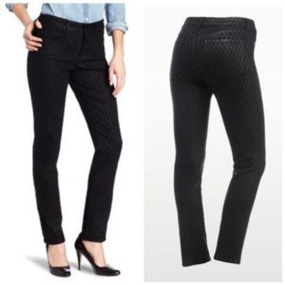 NYDJ Sheri Skinny geometric black shimmer jeans